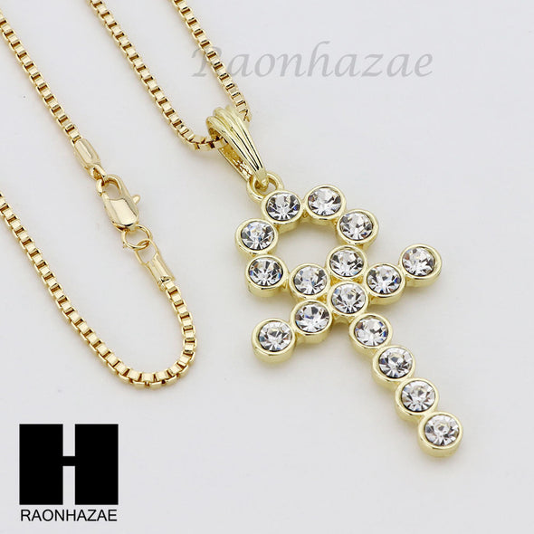 "ICED OUT RUBY ANKH CROSS PENDANT 24"" 30"" ROPE BOX CUBAN CHAIN NECKLACE SET S04 - Raonhazae"