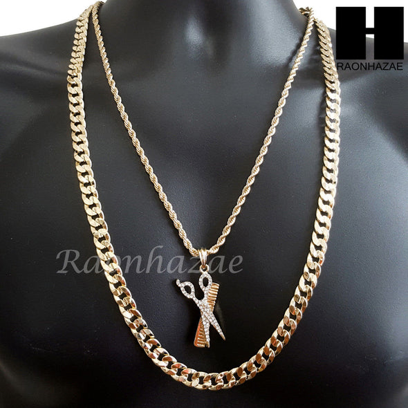 "MEN ICED OUT BARBER SHOP COMB & SCISSORS CUT 30"" CUBAN LINK CHAIN NECKLACE S077G - Raonhazae"