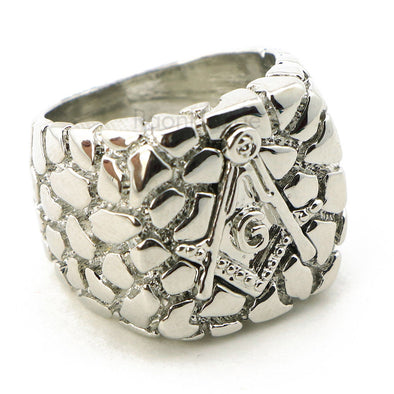 "HIP HOP SOLID ""FREE MASON COBBLESTONE"" WHITE GOLD PLATED RING BK006G - Raonhazae"