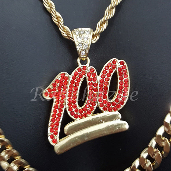 "EMOJI RED 100 ROPE CHAIN DIAMOND CUT 30"" CUBAN CHAIN NECKLACE SET G30 - Raonhazae"