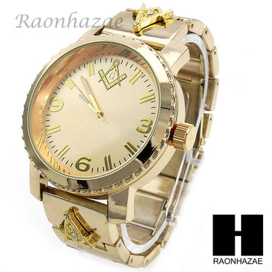 Men Hip Hop Lab Diamond Freemason Watch & Cuban Bracelet Gold Set 195G - Raonhazae