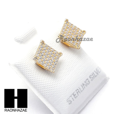 Iced Out Sterling Silver .925 Lab Diamond 8mm Square Screw Back Earring SE034G - Raonhazae