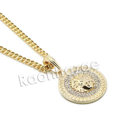 "Mens Brass Gold Medusa Charm Pendant w/ 5mm 24"" 30"" Cuban Chain A07G - Raonhazae"