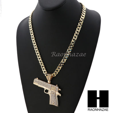 HIP HOP ICED OUT L HAND GUN PENDANT & DIAMOND CUT CUBAN LINK CHAIN NECKLACE NN44 - Raonhazae