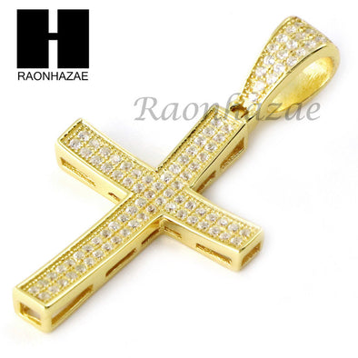 Iced Out Sterling Silver .925 AAA Lab Diamond Jesus Cross w/2.5mm Moon Chain S27 - Raonhazae