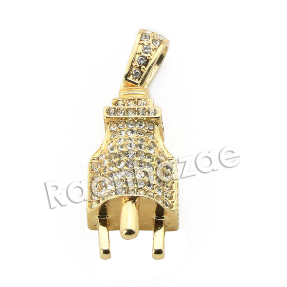 "Mens Brass Bling Electronic Plug Pendant w/ 5mm 24"" 30"" Cuban Chain A03 - Raonhazae"