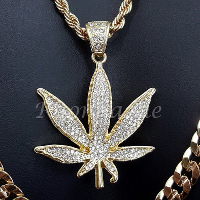 "MARIJUANA CHARM ROPE CHAIN DIAMOND CUT 30"" CUBAN CHAIN NECKLACE SET G18 - Raonhazae"