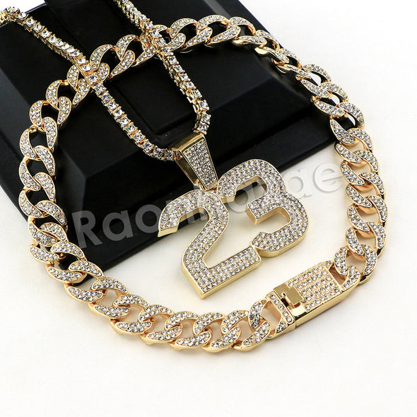 Hip Hop Quavo MJ 23 Miami Cuban Choker Chain Tennis Necklace L23 - Raonhazae