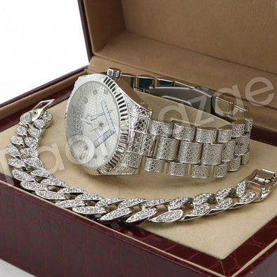 Hip Hop 14K White Gold PT Freemason Watch Cuban Chain Bracelet Set F44S - Raonhazae