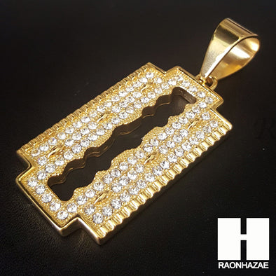 316L Stainless steel Gold Silver Razor Blade Pendant Miami Cuban SS026 - Raonhazae