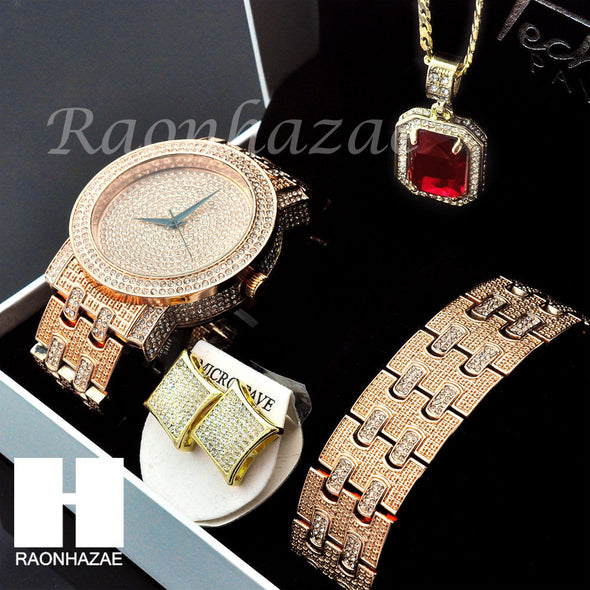 HIP HOP ICED OUT MEEK MILL LAB DIAMOND WATCH RUBY NECKLACE BRACELET EARRING S002 - Raonhazae