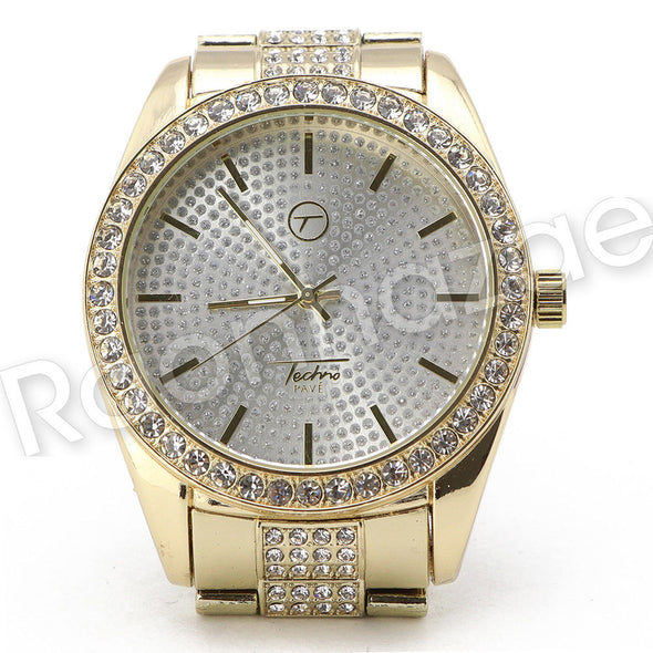 Men G-EAZY Hip Hop 14K Gold PT Luxury Bling Watch Sandblast Bracelet Set F23G - Raonhazae