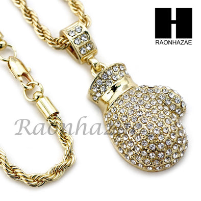 "MIGOS BOXING GLOVE CHARM DIAMOND CUT 30"" CUBAN CHAIN NECKLACE SET G23 - Raonhazae"