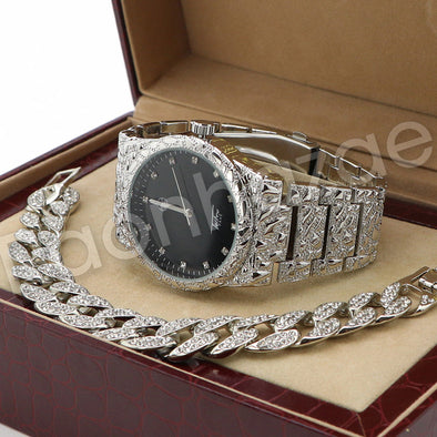 Hip Hop 14K White Gold PT Nugget Watch Cuban Chain Bracelet Set F45S - Raonhazae
