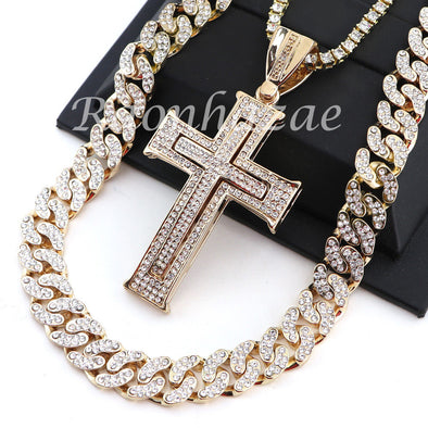 "14K GOLD PT JESUS CROSS 18"" TENNIS CHAIN 16"" 30"" CHOKER CUBAN CHAIN S25 - Raonhazae"