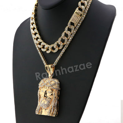 Hip Hop Iced Out Quavo Jesus Face Miami Cuban Choker Chain Tennis Necklace L27 - Raonhazae
