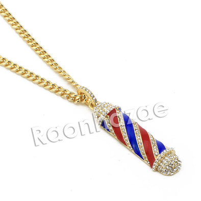 "Men Bling Gold Barber Shop Pendant w/ 5mm 24"" 30"" Brass Cuban Chain A12 - Raonhazae"
