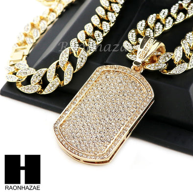 "Hip Hop 14k Gold Plated Dog Tag Pave Pendant 30"" Cuban Link Chain N08 - Raonhazae"