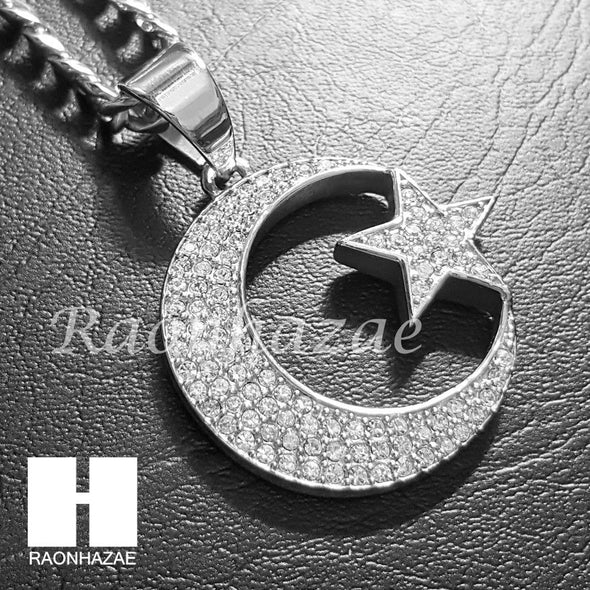 316L Stainless steel Silver Muslim Moon&Star Pendant 5mm Cuban Chain S25 - Raonhazae