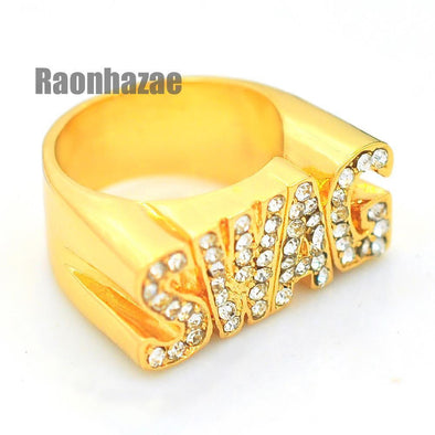 HIP HOP FASHION ICED OUT SOLID CHUNKY SWAG SWAGGER GOLD PLATED RING N001G - Raonhazae