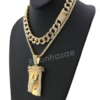 Hip Hop Iced Out Quavo Jesus Face Miami Cuban Choker Tennis Chain Necklace L36 - Raonhazae