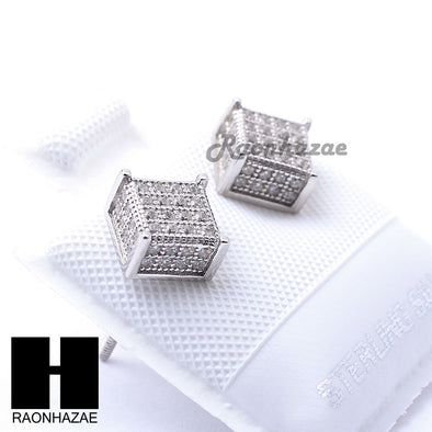 Iced Out Sterling Silver .925 Lab Diamond 6mm Square Screw Back Earring SE029S - Raonhazae
