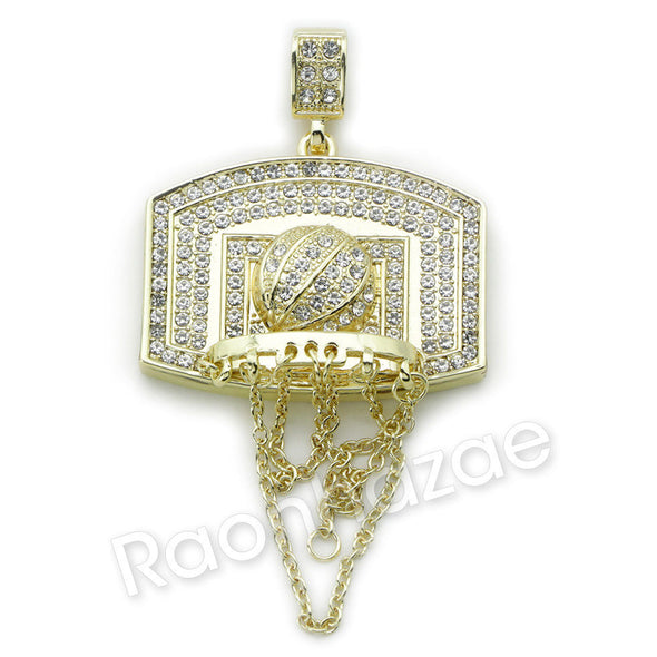 BIG BASKETBALL BACKBOARD ROPE CHAIN DIAMOND CUT CUBAN CHAIN NECKLACE G64 - Raonhazae