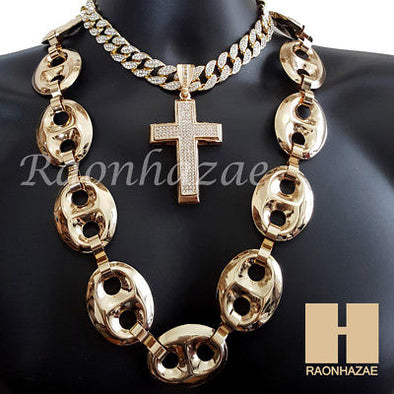 "Gold Finished Cross Pendant 16"" Iced Out Choker 30"" Puffed Gucci Cuban Chain 2 - Raonhazae"