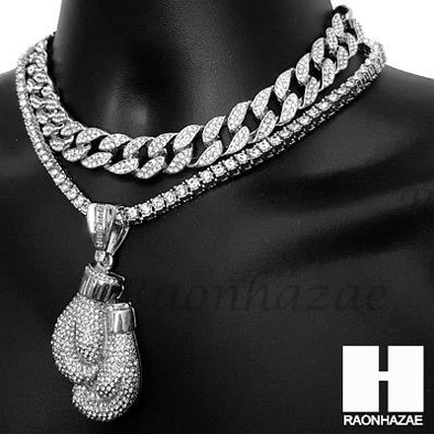 Hip Hop Iced Out Silver Boxing Glove Miami Cuban Choker Tennis Chain Necklace ES - Raonhazae