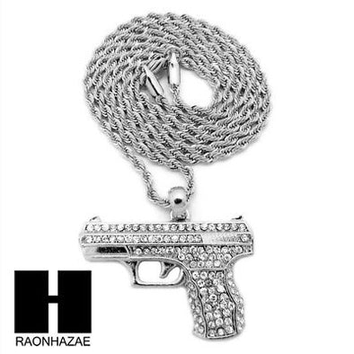 "MEN'S WHITE GOLD PLATED GUN PENDANT W 3mm 24"" ROPE CHAIN NECKLACE D32S - Raonhazae"