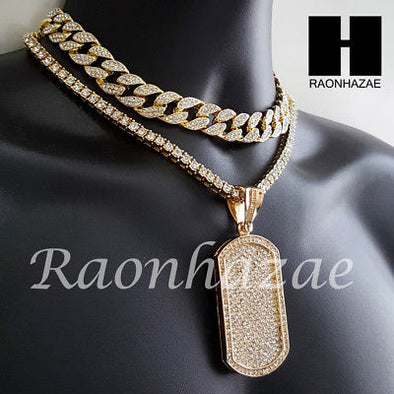Hip Hop Iced Out Premium Dog Tag Miami Cuban Choker Tennis Chain Necklace L - Raonhazae