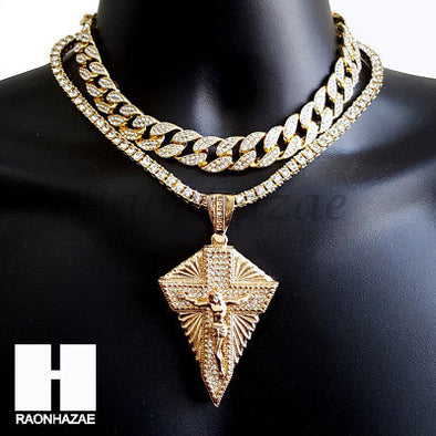 Hip Hop Iced Out Premium Jesus Cross Miami Cuban Choker Tennis Chain Necklace A - Raonhazae