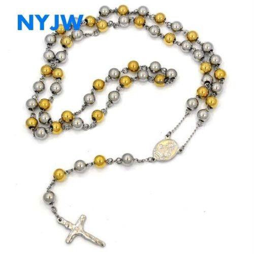 "MEN'S STAINLESS STEEL HEAVY 8mm 29""& 5"" GOLD SILVER BEADS ROSARY JSR201GS - Raonhazae"