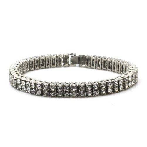 NEW QUALITY 0.5 CARAT WHITE GOLD PLATED 2 ROW CUBIC STONE BRACELET SSB002S - Raonhazae