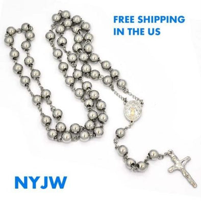 "MEN'S STAINLESS STEEL HEAVY 8mm 29""& 5"" SILVER BEADS ROSARY NECKLACE JSR201WG - Raonhazae"