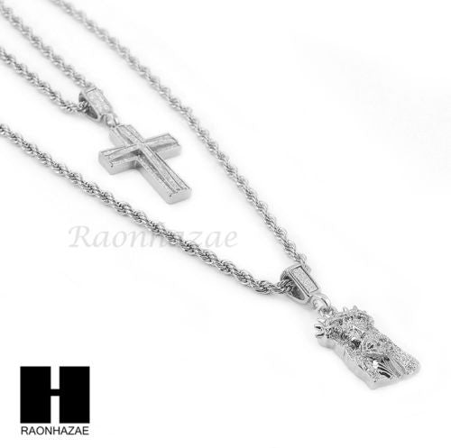 "MEN ICED OUT CUBAN LINK 30"" CHAIN / CROSS & JESUS PENDANT ROPE NECKLACE SET S41S - Raonhazae"