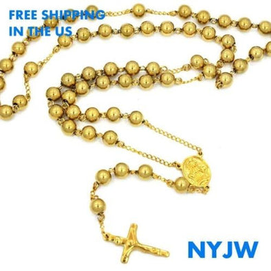 "MEN'S STAINLESS STEEL HEAVY 8mm 29""& 5"" 14K PT. GOLD BEADS ROSARY JSR201YG - Raonhazae"