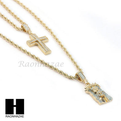 "MEN CUBAN LINK 30"" CHAIN / CROSS & JESUS PENDANT ROPE NECKLACE SET SC41 - Raonhazae"