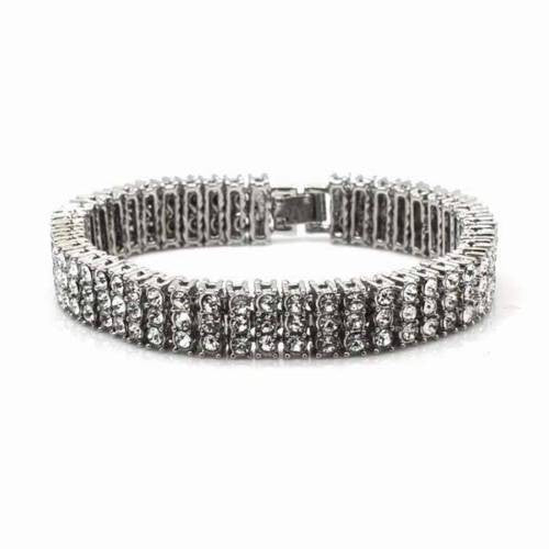 NEW QUALITY 0.5 CARAT WHITE GOLD PLATED 3 ROWS CUBIC STONE BRACELET SSB003S - Raonhazae