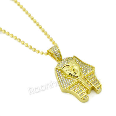 "Sterling Silver .925 AAA Lab Diamond King-tut w/2.5mm 20"" 24"" Moon Cut Chain G47 - Raonhazae"