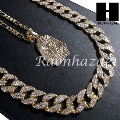 "New 14k Gold PT King-tut Pendant 15mm Miami Cuban 30"" Necklace SET 202G - Raonhazae"