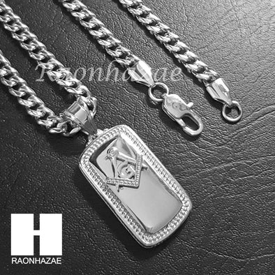 Iced Out 316L Stainless steel Silver Freemason Dog Tag 5mm Cuban Chain SG1 - Raonhazae