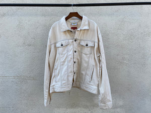 No One's Free - Unisex Upcycled Off White Denim Jacket