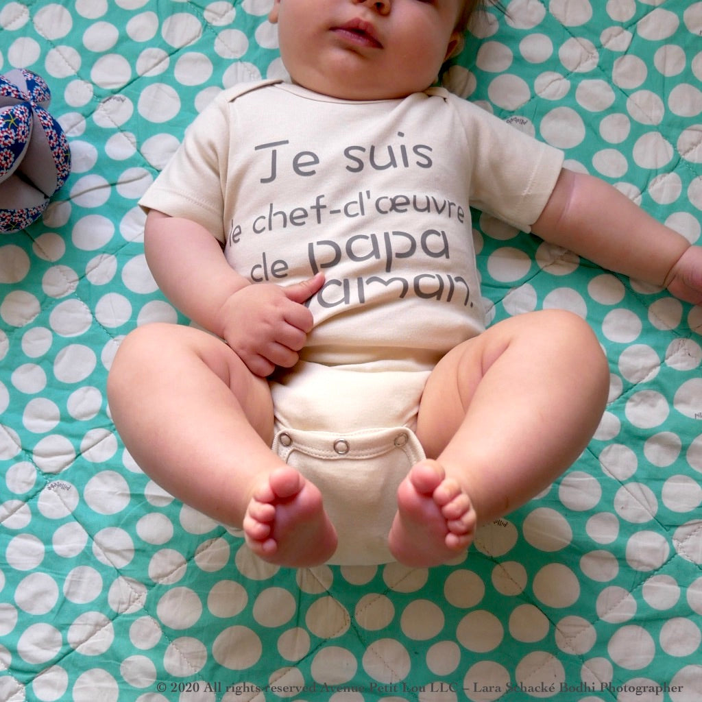 "Organic Natural Baby Onesie - French ""Papa et Maman"" 