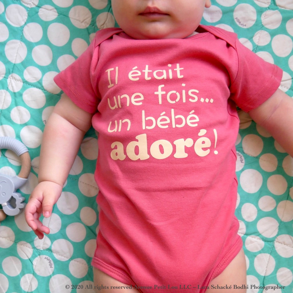 Organic Pink Onesie - French Design | Avenue Petit Lou