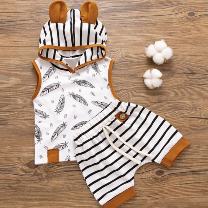 2-Piece Sleeveless & Shorts Bear Hoodie| Avenue Petit Lou