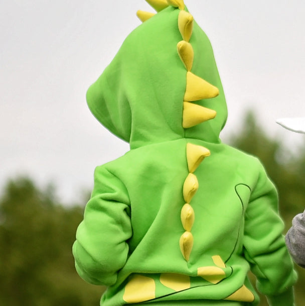 Dino Green Yellow Spikes 3D Hoodie - Avenue Petit Lou