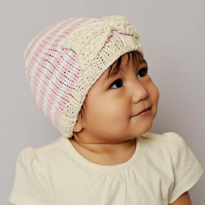 Bamboo Bow with Stripes Baby Knit Hat | Avenue Petit Lou