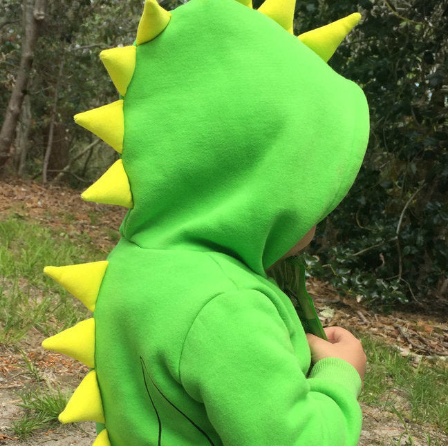 Dino Green Yellow Spikes 3D Hoodie | Avenue Petit Lou