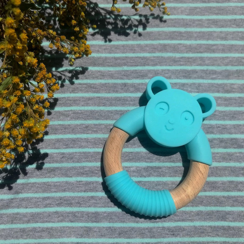 Panda Silicone Wood Teether - Avenue Petit Lou